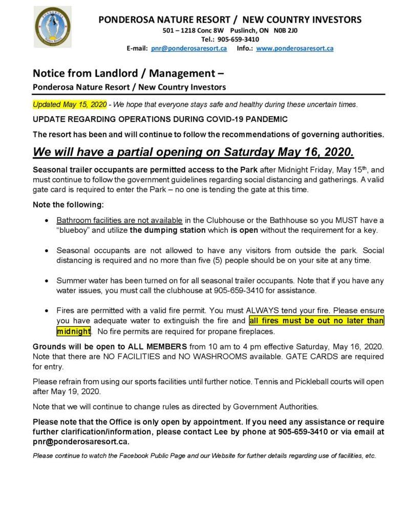 Ponderosa Nature Resort May 15, 2020 Update